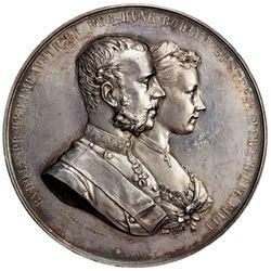 AUSTRIA: Franz Josef, 1848-1916, AR medal (81.32g), 1881. AU