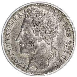 BELGIUM: Leopold I, 1831-1865, AR 1/4 franc, 1843. ANACS EF45