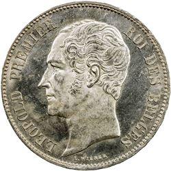 BELGIUM: Leopold I, 1831-1865, AR 5 francs, 1849. UNC