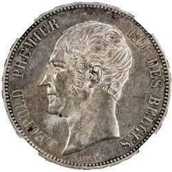 BELGIUM: Leopold I, 1831-1865, AR 5 francs, 1853. NGC MS61