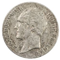 BELGIUM: Leopold I, 1831-1865, AR 20 centimes, 1858. VF