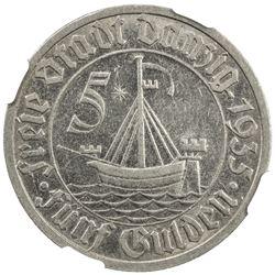 DANZIG: Free City, 5 gulden, 1935. NGC AU55
