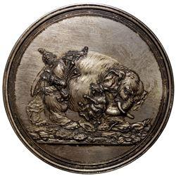 DENMARK: Frederik III, 1648-1670, AR medal (156.8g), 1659. AU