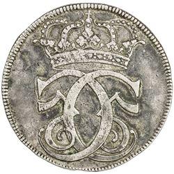 DENMARK: Christian V, 1670-1699, AR 4 mark (krone) (22.49g), 1685. VF