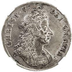 DENMARK: Christian V, 1670-1699, AR krone, 1694. NGC AU53