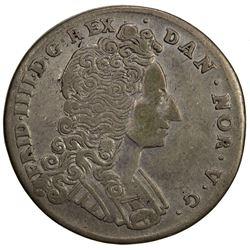 DENMARK: Frederik IV, 1699-1730, AR skilling, 1716. VF-EF