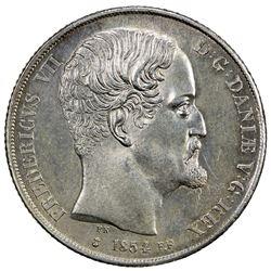 DENMARK: Frederik VII, 1848-1863, AR 2 rigsdaler, 1854. AU