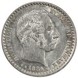 DENMARK: Christian IX, 1863-1906, AR 10 ore, 1884. AU