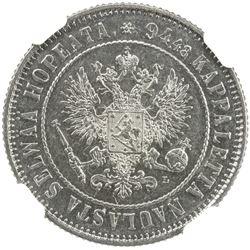 FINLAND: Alexander III, 1881-1894, AR markka, 1893-L. NGC MS61