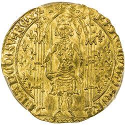 FRANCE: Charles V, 1364-1380, AV franc a pied (3.82g), Poitiers. PCGS MS62