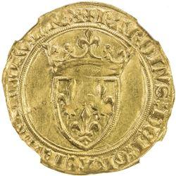 FRANCE: Charles VI, 1380-1422, AV ecu d'or a la couronne (3.92g). NGC MS61
