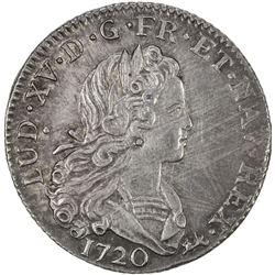 FRANCE: Louis XV, 1715-1774, AR petit louis d'argent (1/3 ecu), Paris mint, 1720-A. EF