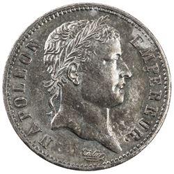FRANCE: Napoleon I, Emperor, 1804-1814, AR franc, Utrecht, 1813. EF