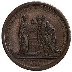 FRANCE: Louis XVI, 1774-1792, AE medal, 1791. UNC