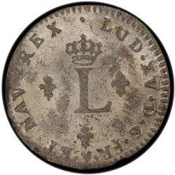 FRENCH COLONIES: Louis XV, 1715-1774, AR 2 sols (sou marque), 1744/3-BB. PCGS MS61