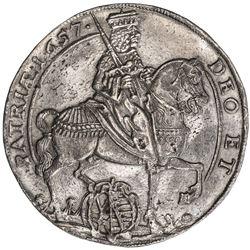 SAXONY: Johann Georg II, 1656-1680, AR thaler, 1657. EF-AU