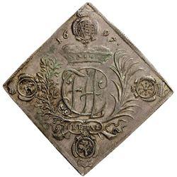 SAXONY: Friedrich August I, 1694-1733, AR thaler, 1697. EF-AU