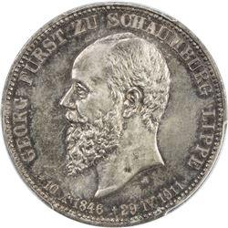 SCHAUMBURG-LIPPE: Albrecht Georg, 1893-1911, AR 3 mark, 1911-A. PCGS MS66