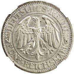 GERMANY: Weimar Republic, AR 5 reichsmark, 1930-E, KM-56, oak tree, key date, NGC graded MS63