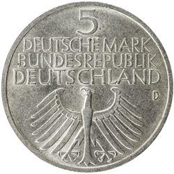 GERMANY: Federal Republic, AR 5 mark, 1952-D. AU