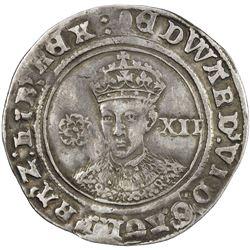 ENGLAND: Edward VI, 1547-1553, AR shilling, London, ND (1551-1553). VF