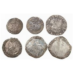 ENGLAND: LOT of 6 silver coins of England, retail value $625