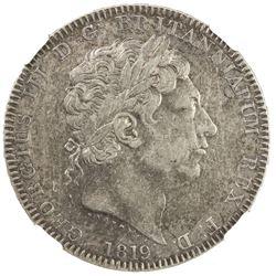 GREAT BRITAIN: George III, 1760-1820, AR crown, 1819. NGC EF40