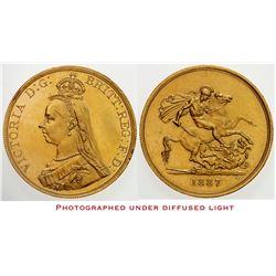 GREAT BRITAIN: Victoria, 1837-1901, AV 5 pounds, 1887, KM-11, Golden Jubilee, rim bump, proof