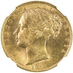 GREAT BRITAIN: Victoria, 1837-1901, AV sovereign, 1871. NGC MS63