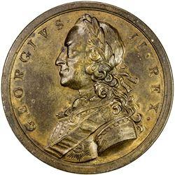 GREAT BRITAIN: George II, 1727-1760, AE medal (34.42g), 1758. EF