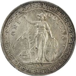 GREAT BRITAIN: Victoria, 1837-1901, AR trade dollar, 1895-B. PCGS AU