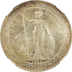 GREAT BRITAIN: Victoria, 1837-1901, AR trade dollar, 1897/6-B. NGC MS62