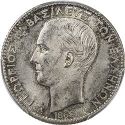 GREECE: George I, 1863-1913, AR drachma, 1868. PCGS MS64