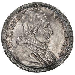 PAPAL STATES: Clement XII, 1730-1740, AR testone (8.35g), 1735. VF-EF