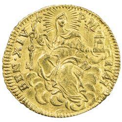 PAPAL STATES: Benedict XIV, 1740-1758, AV mezzo ( 1/2) zecchino (1.72g), Rome, 1747. VF-EF