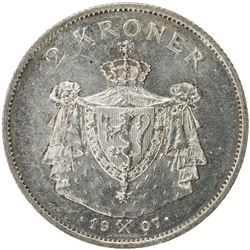 NORWAY: Haakon VII, 1905-1957, AR 2 kroner, 1907. UNC