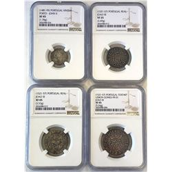 PORTUGAL: LOT of 4 quality NGC slabbed early coins, retail value $650