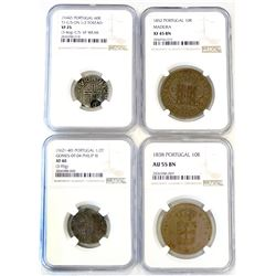 PORTUGAL & COLONIES: LOT of 4 NGC-graded coins, retail value $625