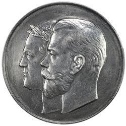 RUSSIAN EMPIRE: Nicholas II, 1894-1917, AR medal (25.38g), 1912. EF-AU