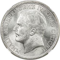 SERBIA: Milan Obrenovic IV, Prince, 1868-1882, AR 2 dinara, 1879. NGC MS63