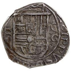 SPAIN: Felipe II, 1556-1598, AR 2 reales (6.79g), 1597-G. NGC EF45