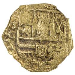 SPAIN: Philip III, 1598-1621, AV 2 escudos (6.76g), Seville, ND. NGC EF45
