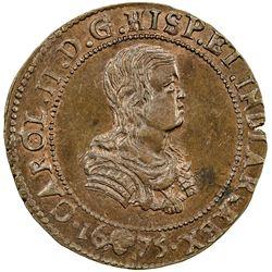 SPANISH NETHERLANDS: Charles II, 1665-1700, AE jeton (6.23g), 1675. UNC