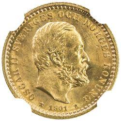 SWEDEN: Oscar II, 1872-1907, AV 5 kroner, 1901. NGC MS64