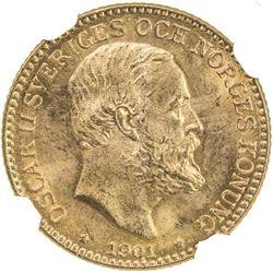 SWEDEN: Oscar II, 1872-1907, AV 10 kroner, 1901. NGC MS65