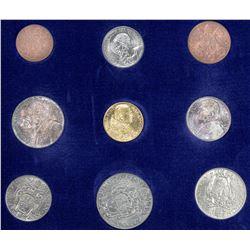 VATICAN: Pius XI, 1922-1939, 9-coin specimen set, 1936. UNC