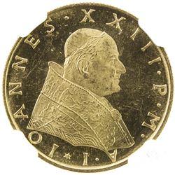 VATICAN: Giovanni XXIII, 1958-1963, AV 100 lire, 1959 year I. NGC MS64