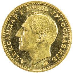 YUGOSLAVIA: Alexander I, 1921-1934, AV ducat (3.49g), 1931. BU