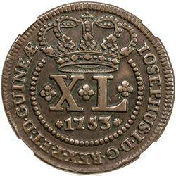 ANGOLA: Jose I, 1750-1777, AE 40 reis, 1753. NGC EF45