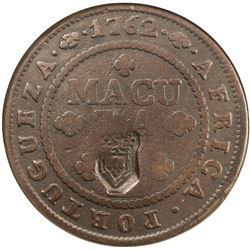 ANGOLA: Maria II, 1834-1853, AE 2 macutas, ND [1837]. NGC VF25